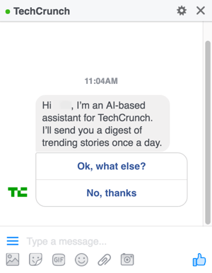 Facebook Messenger Intelligent Agent