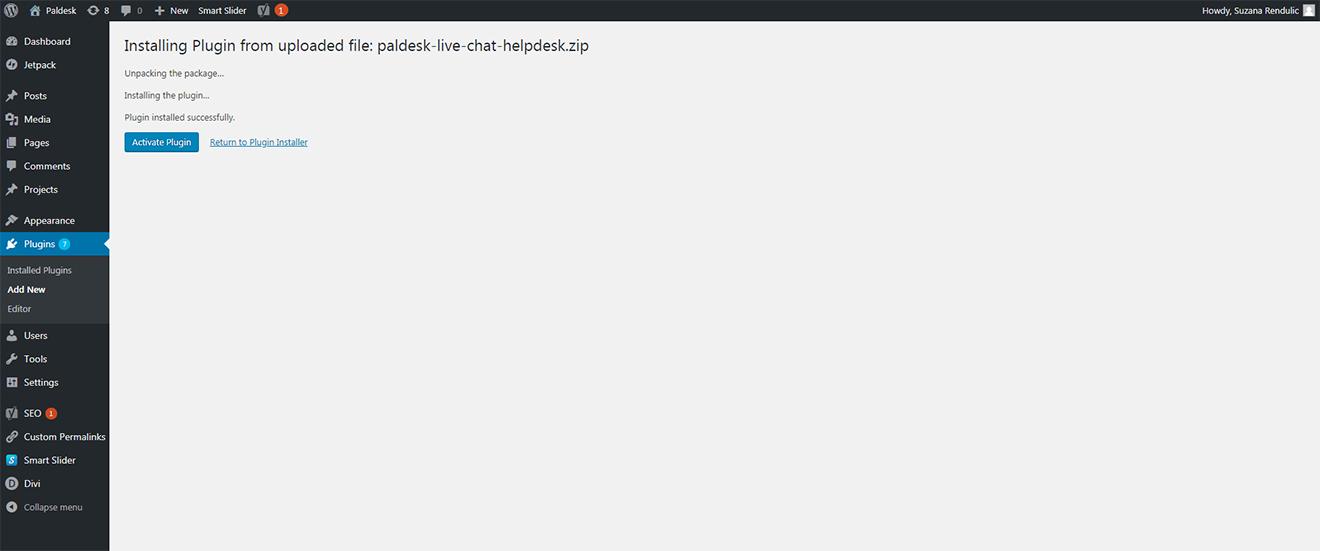Installation of Paldesk plugin