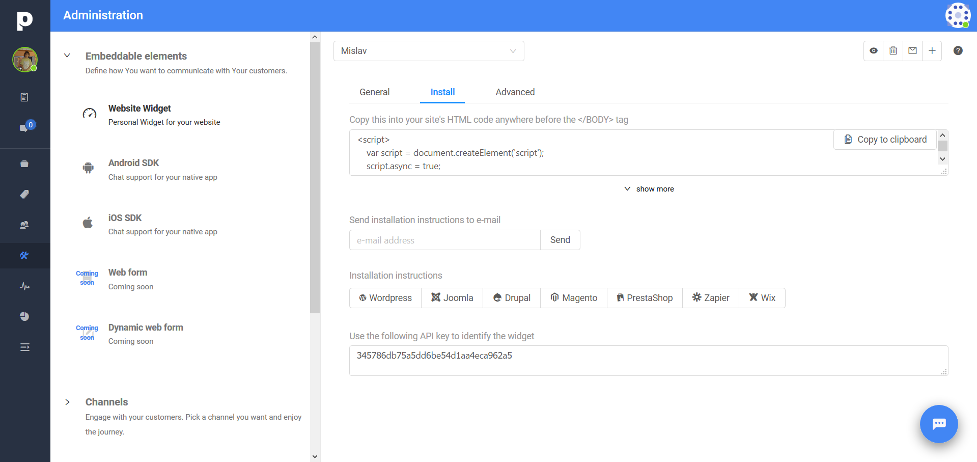 API key from Administration in Paldesk