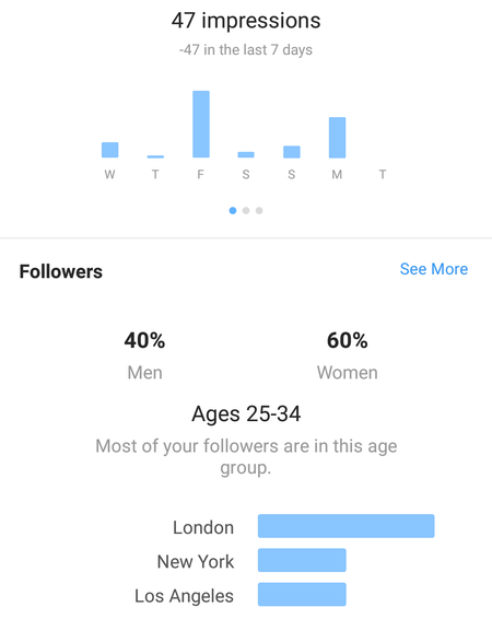 Instagram Business Profile overview by impressions, location and gender