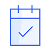 Blue calendar icon with the sign checked