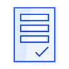 To do list blue icon with the sign checked at the end