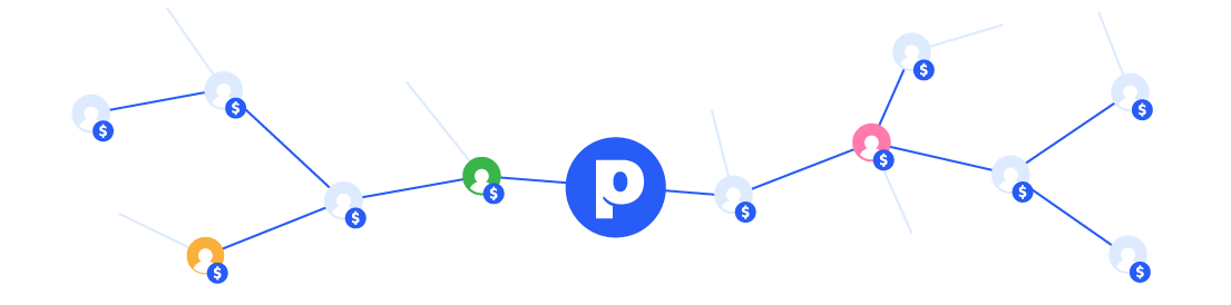 Web of Paldesk affiliates with round colourful images and dollar icons