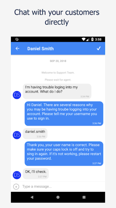 Direcct conversation with the customer