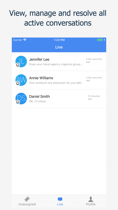 Picture of all live conversations inside Paldesk mobile application on iOS