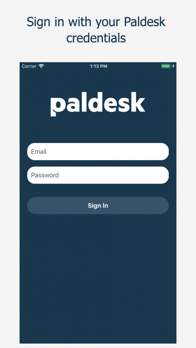 Sign in with your Paldesk credentials on iOS