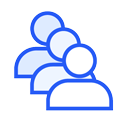 Customer queue blue icon