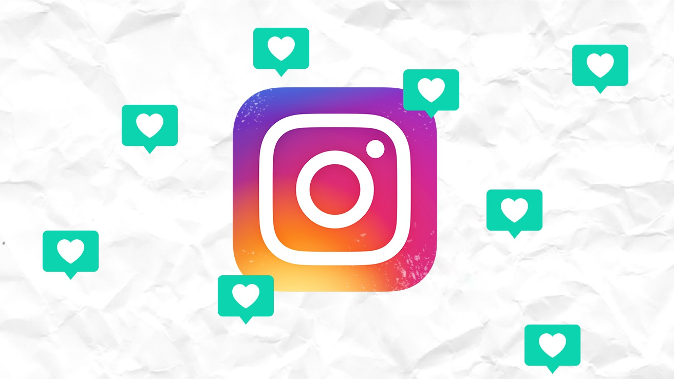 Instagram logo on a paper-like white background