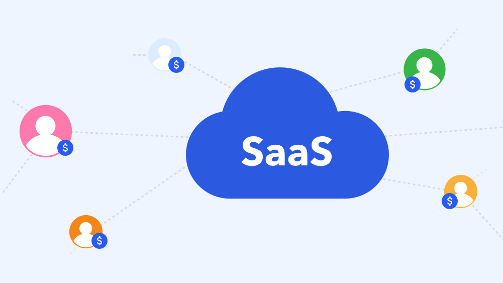 SaaS blue cloud with graphic round elements around