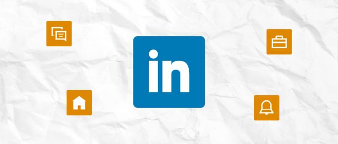 Linkedin logo for business on white paper