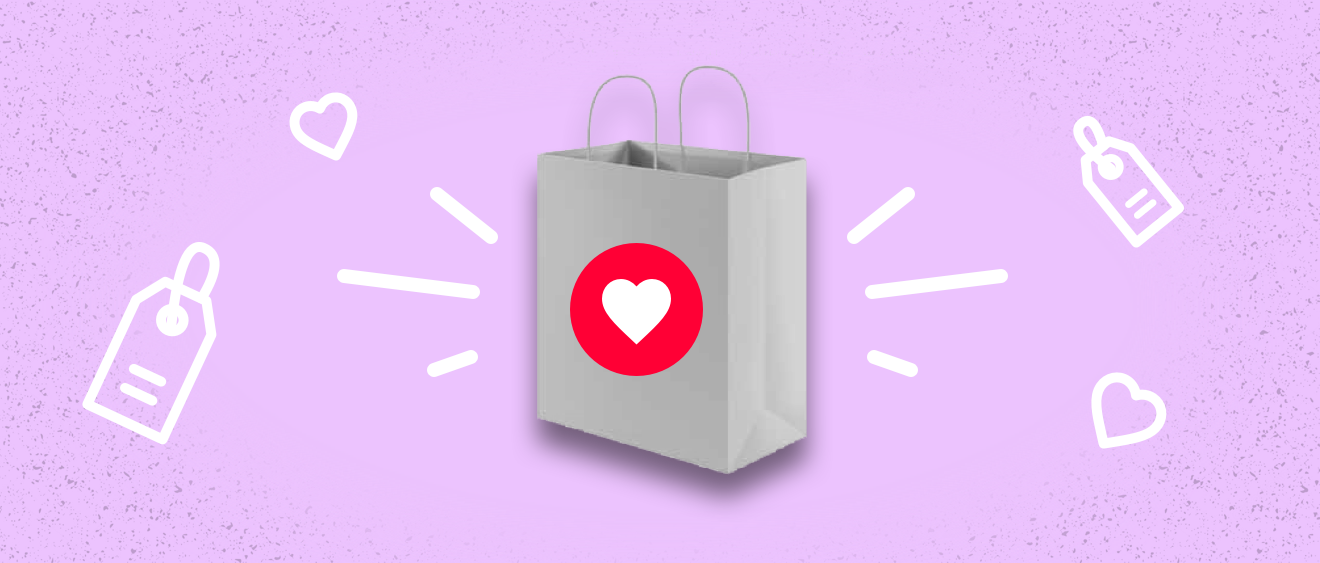 Shopping bag with a heart pink background