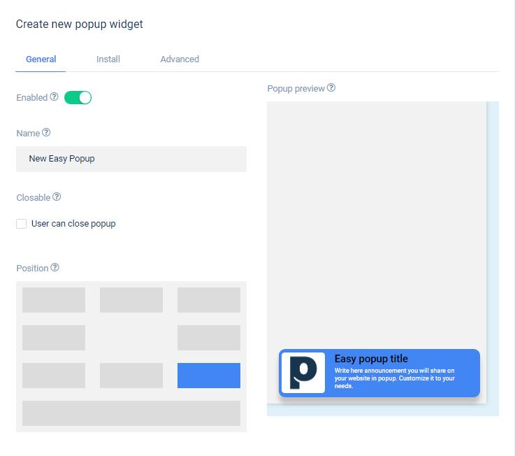 Create New Popup Widget
