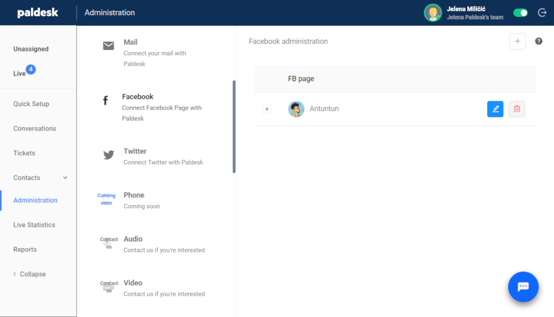 Edit, delete or add new Facebook page