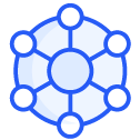 Integrations hexagon in blue