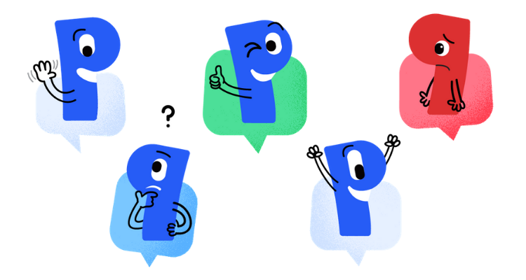 Five Paldesk stickers expressing emotions