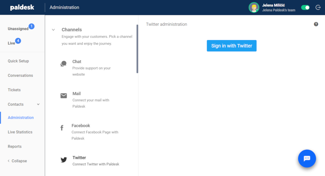 Twitter integration with Paldesk