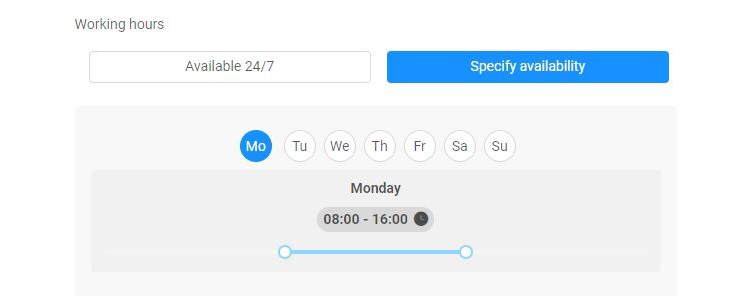 Working hours preview
