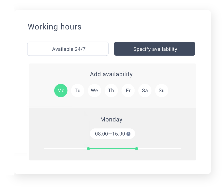 Answer customer questions effectively by setting working hours and activating a chatbot.