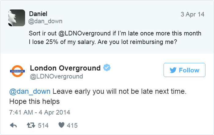 London Underground customer care example on Twitter