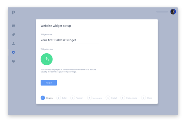 The Paldesk app lets you set up a live chat widget quickly