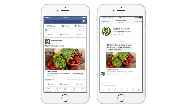 Examples of Instagram and Facebook native advertising ads