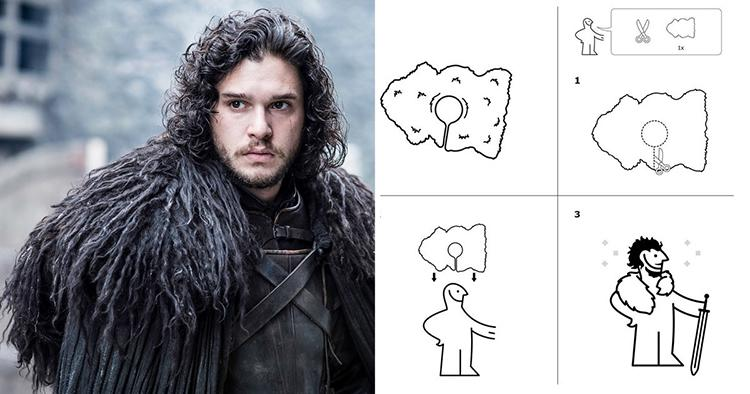 Ikea rug instructions, inspired by Jon Snow