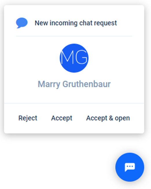 Incoming chat request Paldesk