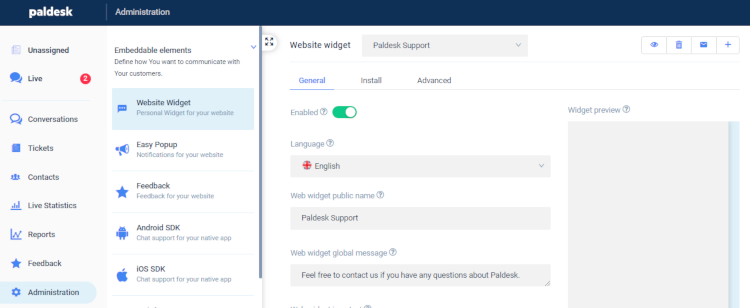The location of multilanguage widget in Paldesk administration