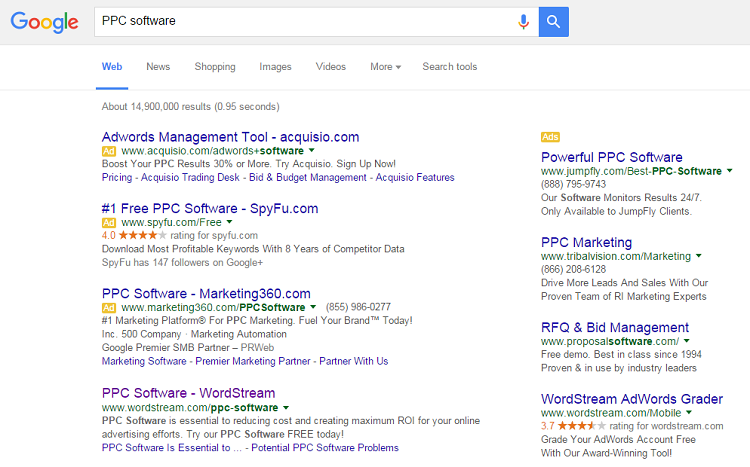 Example of native advertising with different Google search ads