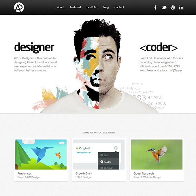 Adam Dannaway's website is a great example of creative design
