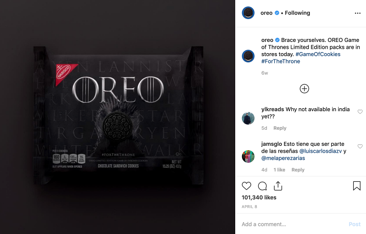 Instagram business oreo got