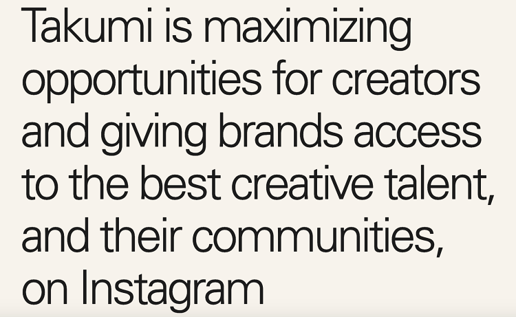 Instagram support Takumi platform