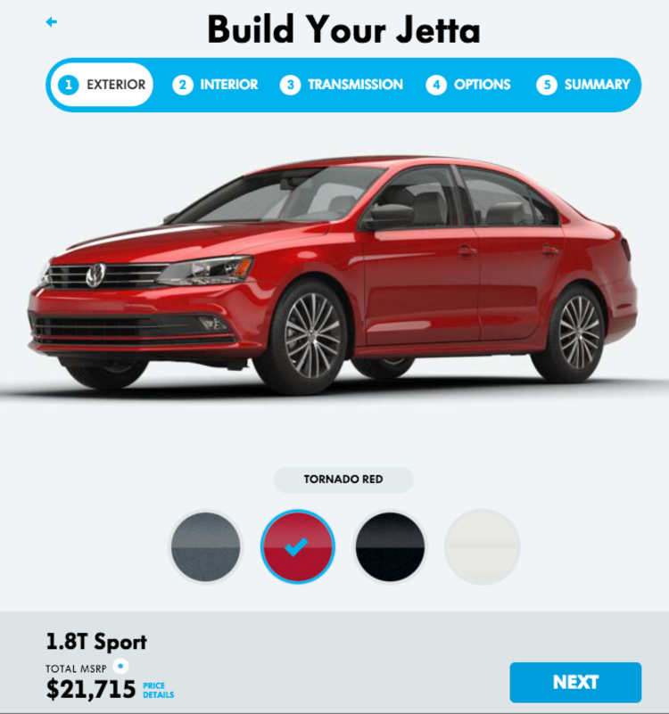 Product page Volkswagen-customizer