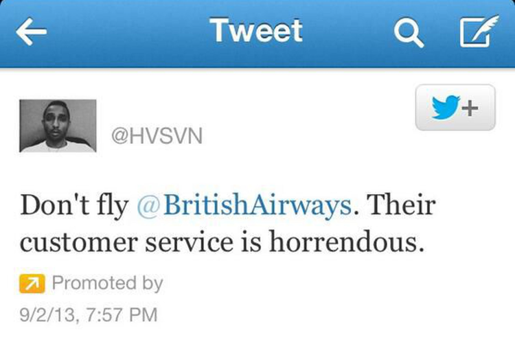 bad customer service - promoted tweet
