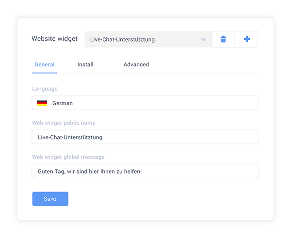 Multilanguage live chat widget administration