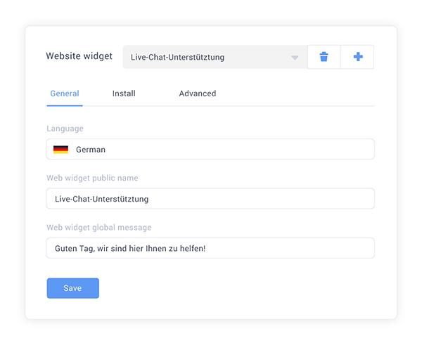 Multilanguage live chat widget administration