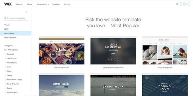ecommerce website builders wix
