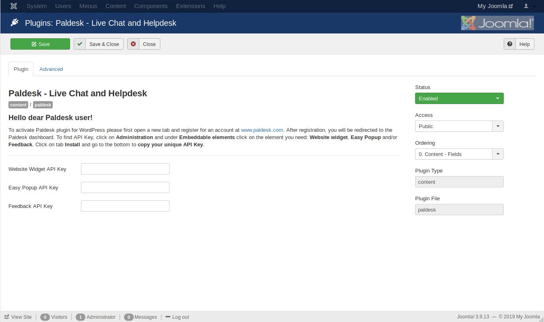 API key from Paldesk copied into Joomla