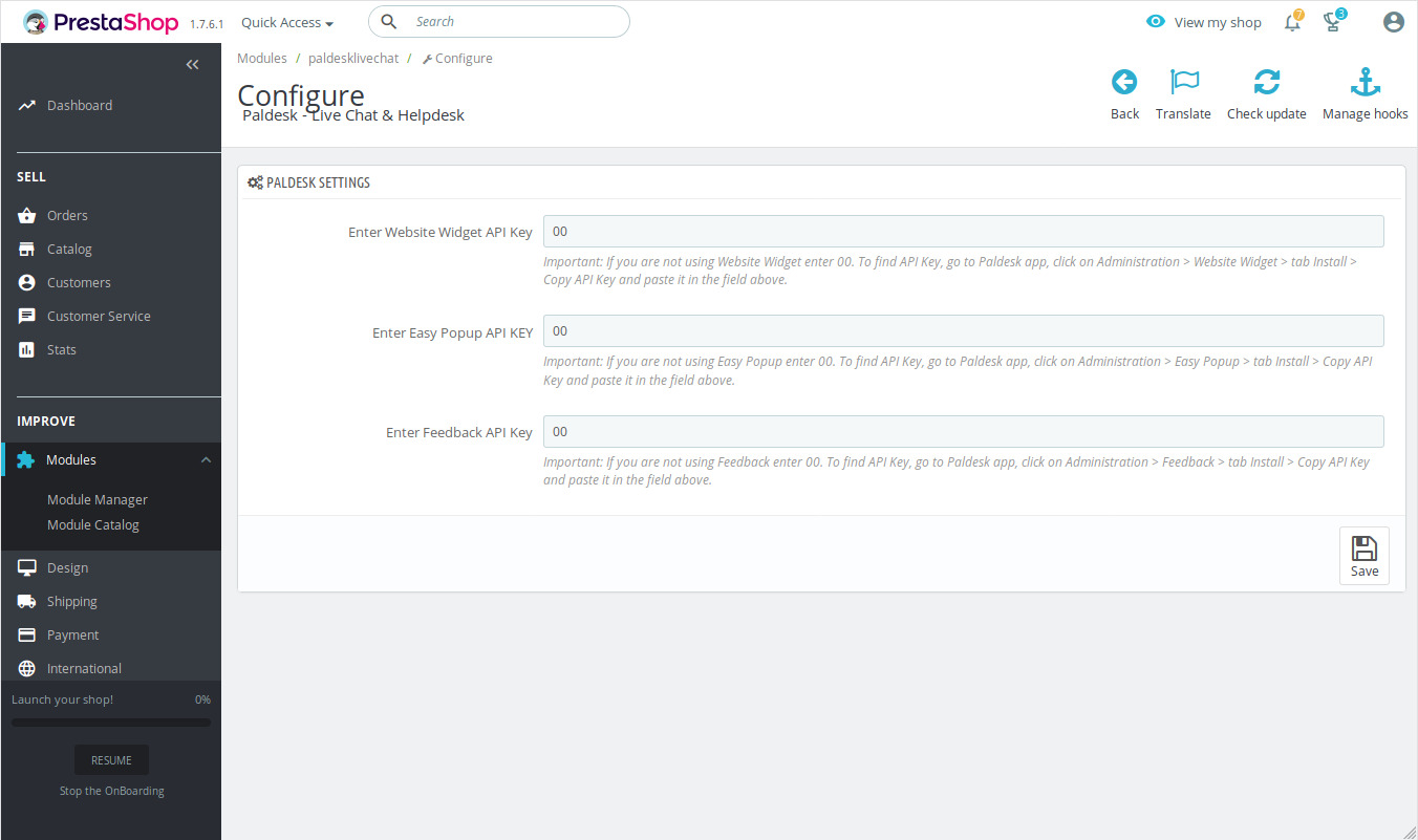 Entering API key from Paldesk