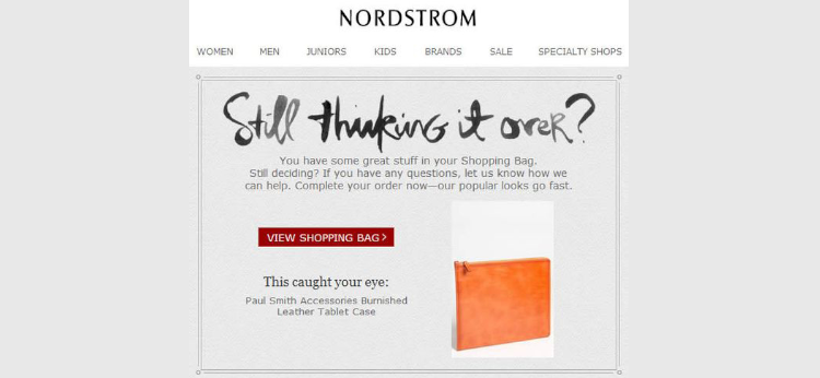 Re-engage customers that abandoned cart example by Nordstrom
