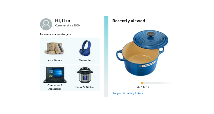 Amazon personalization example