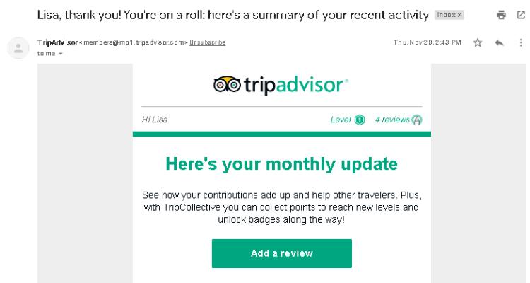 TripAdvisor automated email example