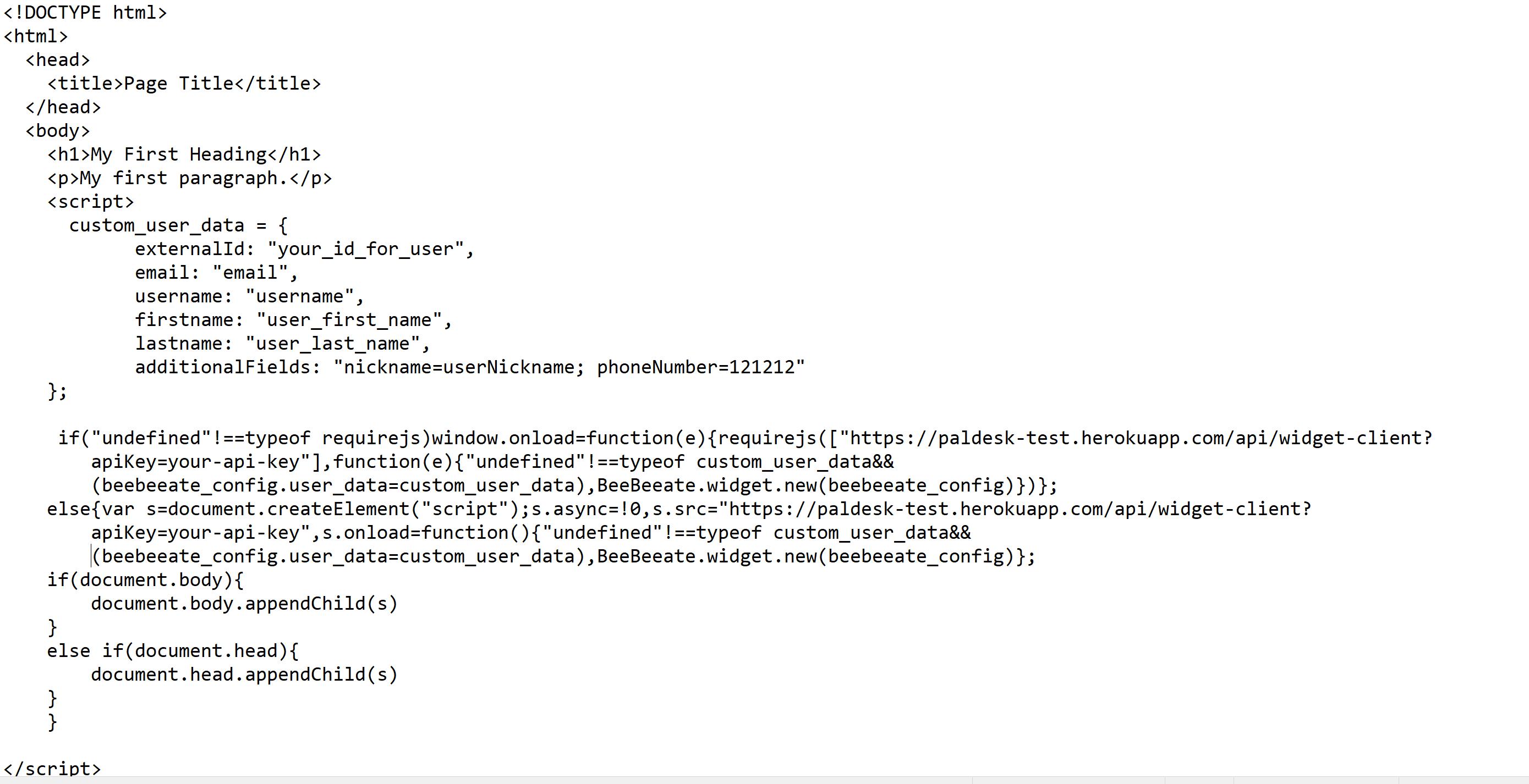 Custom user data code