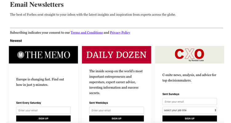 Forbes email newsletter example