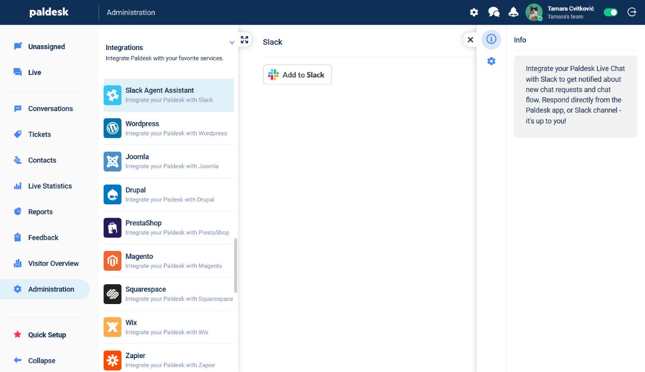 Integrate Paldesk with Slack