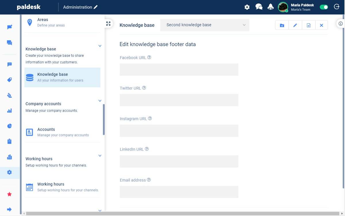 Edit knowledge base footer data
