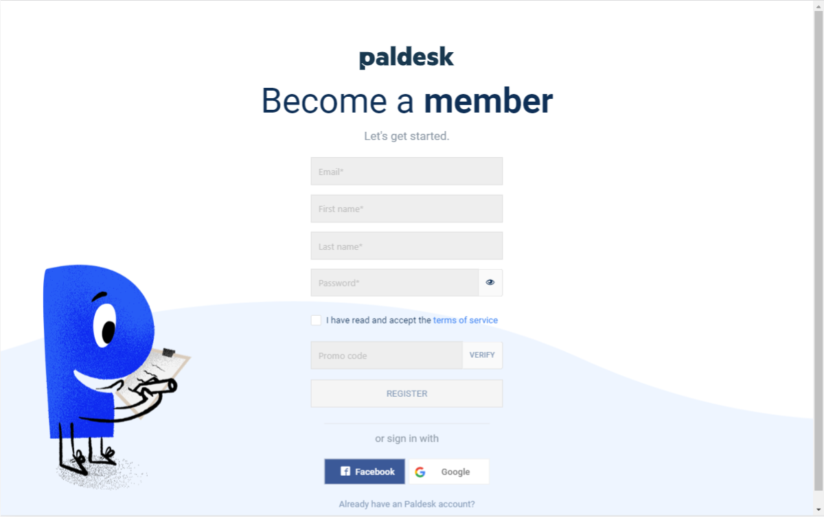Register at Paldesk