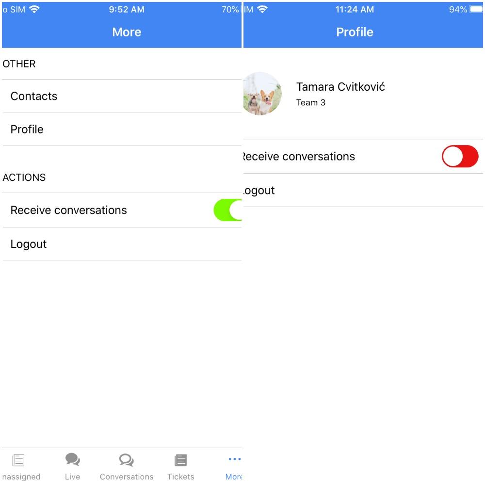extra settings ios mobile app