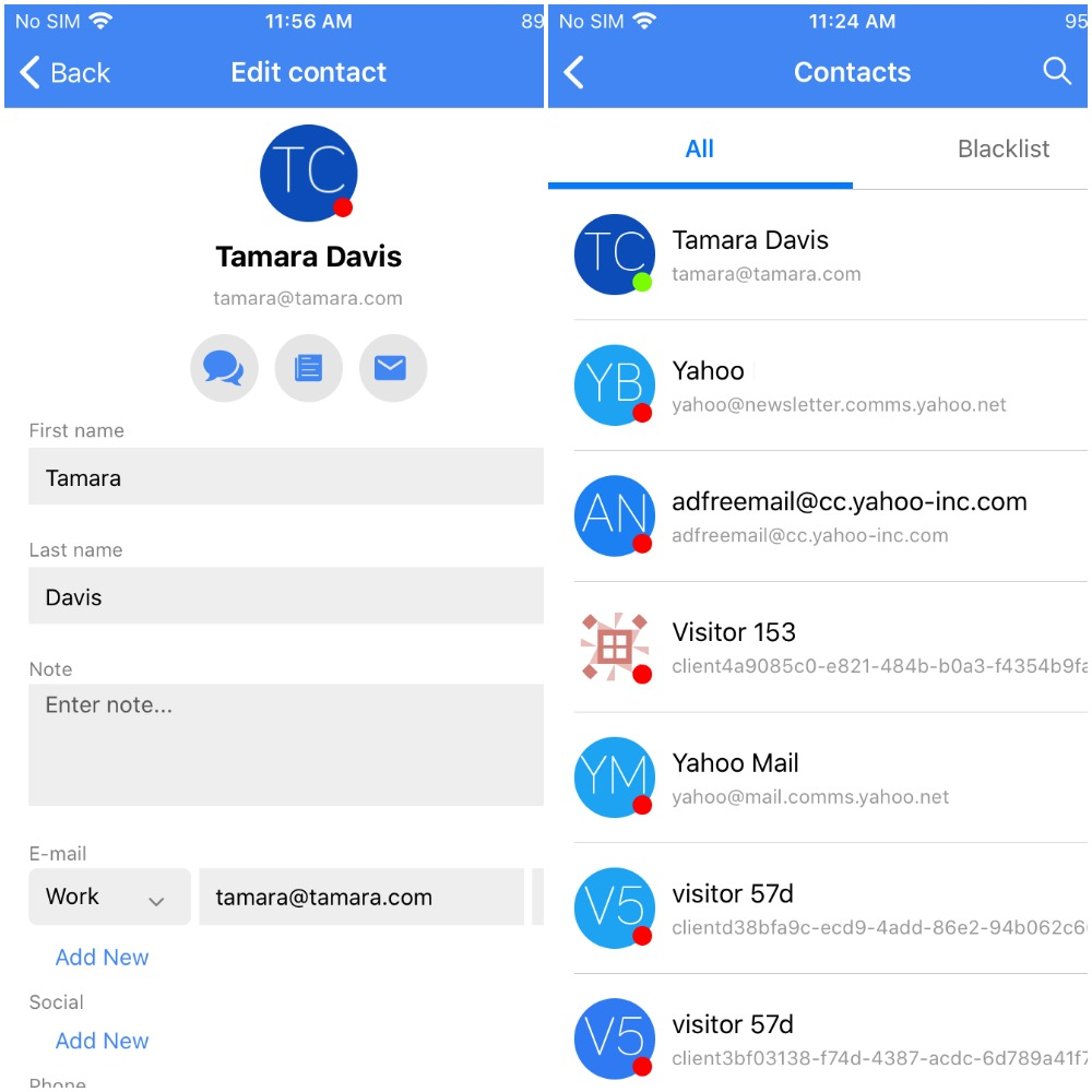 ios mobile app contacts