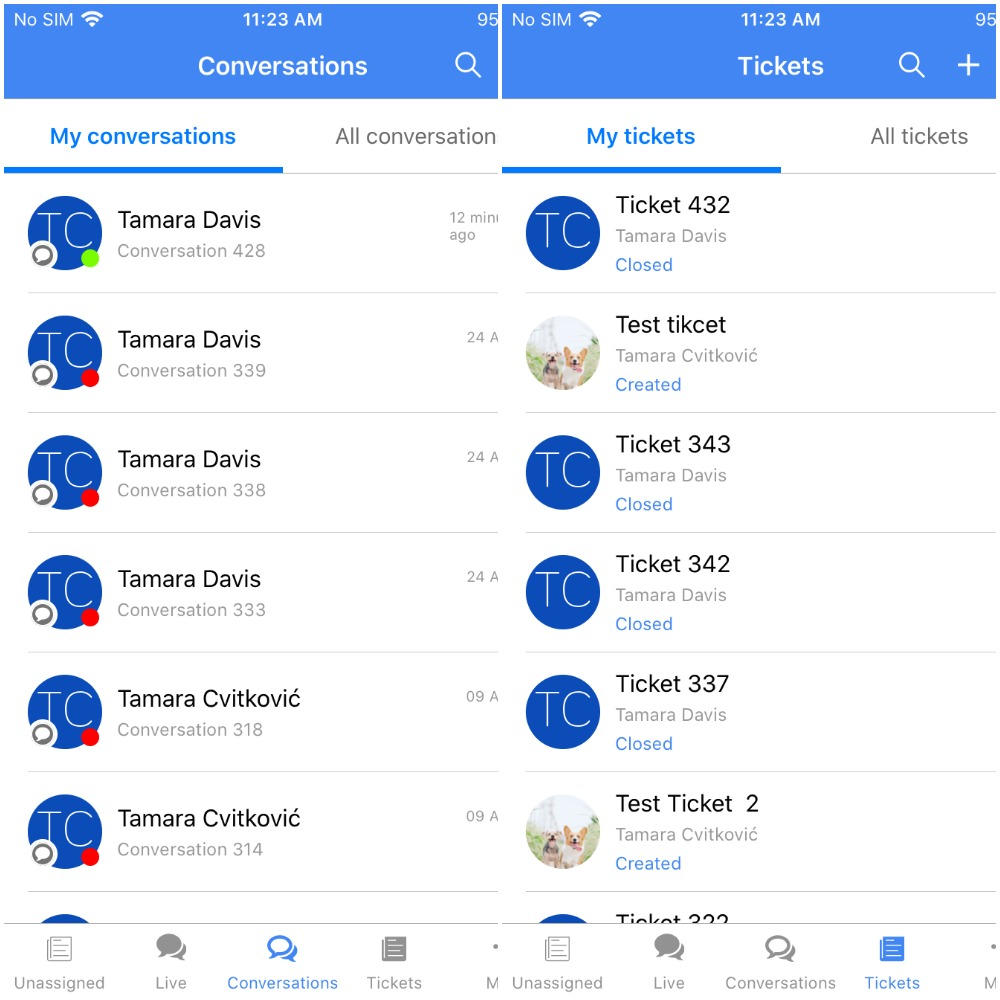 Paldesk mobile app ios conversations and tickets